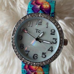Metal butterfly watch
